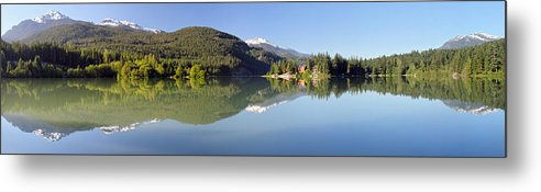 Green Metal Print featuring the photograph Green Lake Whistler Panorama by Pierre Leclerc Photography
