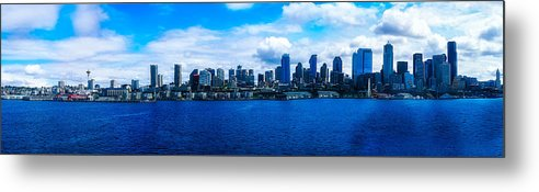 Seattle City Scape Metal Print featuring the photograph Pano Of Downtown Seatle by Rodney Perry