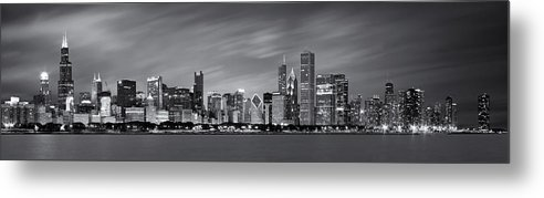 3scape Metal Print featuring the photograph Chicago Skyline At Night Black And White Panoramic by Adam Romanowicz
