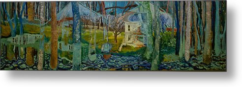 House Metal Print featuring the painting Long View Of A Ghost World by Jacob Mccauley