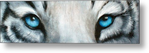 White Tiger Eyes Metal Print featuring the painting Whos Watching Who...white Tiger by Darlene Green
