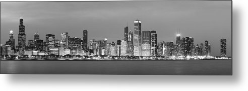 Chicago Metal Print featuring the photograph 2010 Chicago Skyline Black And White by Donald Schwartz