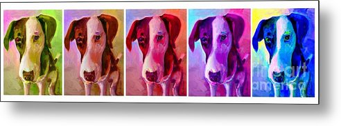 Dog Metal Print featuring the painting Colored Dog Strip by Linda Vespasian