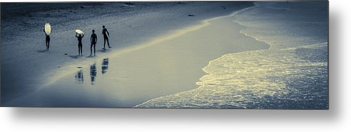 Ocean Metal Print featuring the photograph Surfers Heading Home by Bette Levine