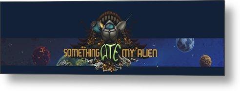 Video Game Metal Print featuring the digital art Something Ate My Alien #3 by RoKabium Games