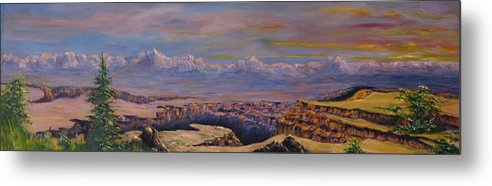 Landscape Arizona Metal Print featuring the painting Vermillion Clffs by Thomas Restifo