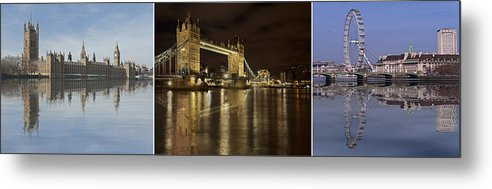London Metal Print featuring the photograph Reflections On The Thames by Fran Walding