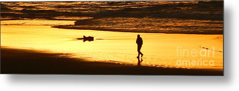 Pacific Ocean Metal Print featuring the photograph Jog At Sunset by Larry Keahey