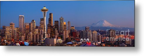 Seattle Metal Print featuring the photograph Seattle Winter Evening Panorama by Inge Johnsson