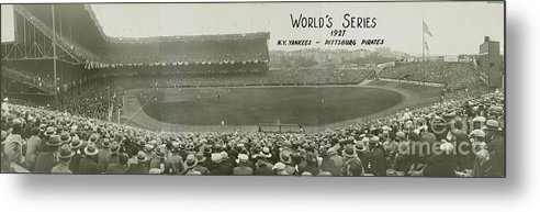 Playoffs Metal Print featuring the photograph 1927 World Series At Yankee Stadium 1927 by National Baseball Hall Of Fame Library