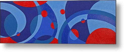 Abstract Metal Print featuring the painting Red And Blue Worlds by Susan Rinehart