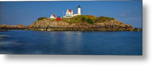 Nubble Metal Print featuring the photograph Nubble Light And A Clear Blue Sky by Scott Lynde