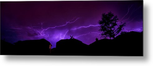 Lightning Metal Print featuring the photograph The Lightning Over Avery Neighborhood by Lisa Spencer