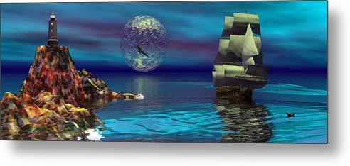 Bryce 3d Scifi Fantasy  Dolphin tall Ship Windjammer \sailing Ship\ Sailing Metal Print featuring the digital art Beacon Of Hope by Claude McCoy