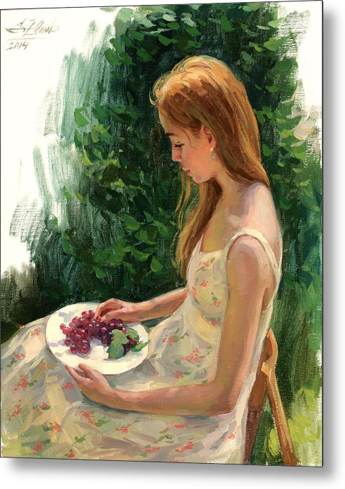 Plenair Painting Metal Print featuring the painting Grapes by Serguei Zlenko
