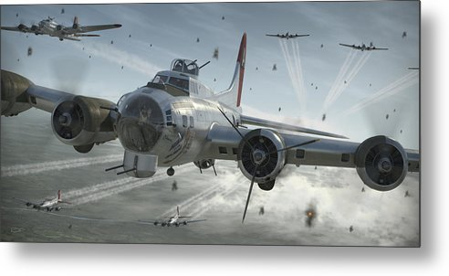 B-17 Metal Print featuring the digital art B-17G Hikin' For Home by Robert Perry