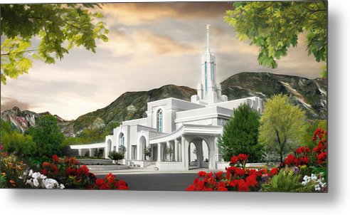 Mount Metal Print featuring the painting Mt. Timpanogos Temple #1 by Brent Borup