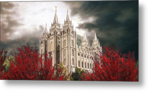 Salt Lake Metal Print featuring the painting Salt Lake Temple - A Light in the Storm by Brent Borup