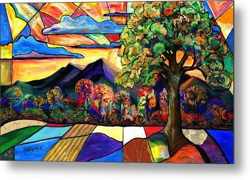 Everett Spruill Metal Print featuring the painting Autumn Sunrise by Everett Spruill