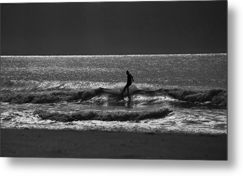 Surfer Metal Print featuring the photograph Morning surfer by Sheila Smart Fine Art Photography