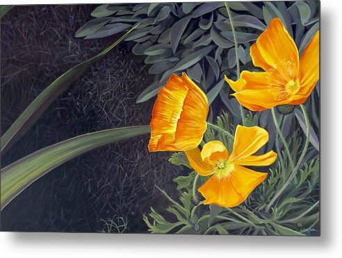 Orange Metal Print featuring the painting Sunny Mystery by Hunter Jay