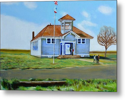 Buildings; School; Landscape; African American Community; Historical State Park; Metal Print featuring the painting Allensworth School by Howard Stroman