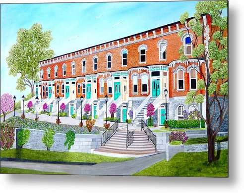 Belleville Ontario Buildings Painting Metal Print featuring the painting Bellevue Terace circa 1876 by Peggy Holcroft