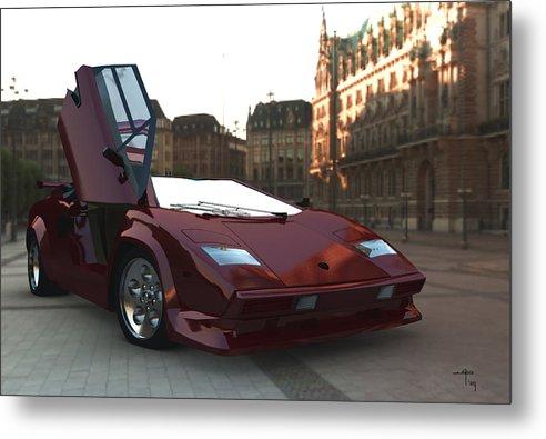 Countach Lambourghini Italian Sportscars Metal Print featuring the digital art Hop In by Steven Palmer