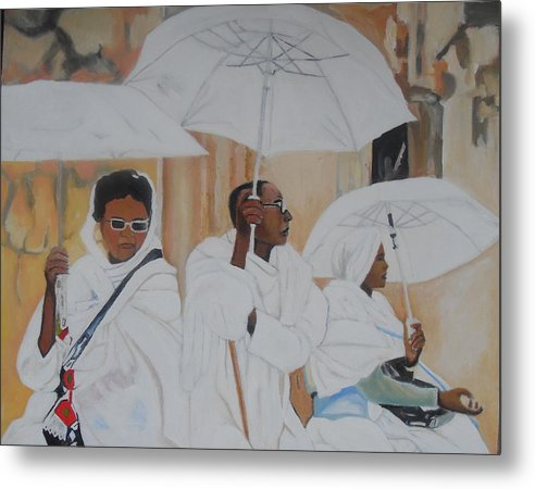 African Art Metal Print featuring the painting Ethiopian Travelers by Patrick Hunt