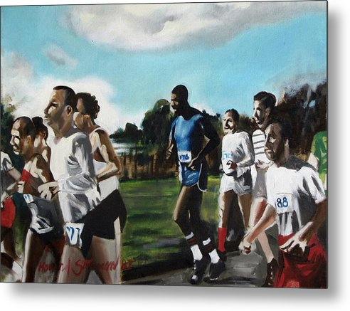 Jogging;sports;group Sports;landscape;running;lake;sky;clouds;outdoors Metal Print featuring the painting Runnin' by Howard Stroman