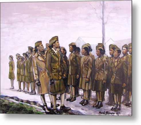 Military; Women Military; Soldiers; Ww2; Army; Women Soldiers; Metal Print featuring the painting Attention by Howard Stroman