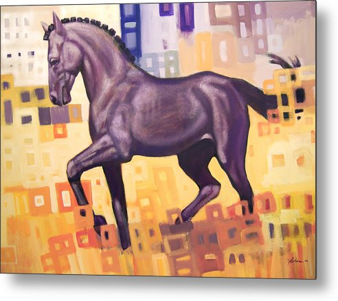 Horse Metal Print featuring the painting Black Horse by Farhan Abouassali