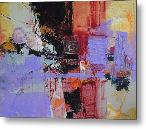 Mixed Media Metal Print featuring the mixed media Cambodian Dusk by Jo Ann Brown-Scott