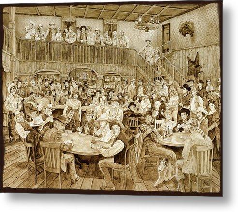 Movie Stars Metal Print featuring the painting Western Saloon by Tim Joyner