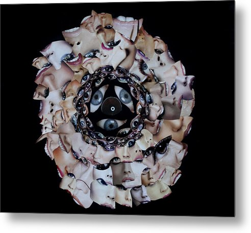 Metal Print featuring the mixed media Reflective Mandala by Arvo Zylo