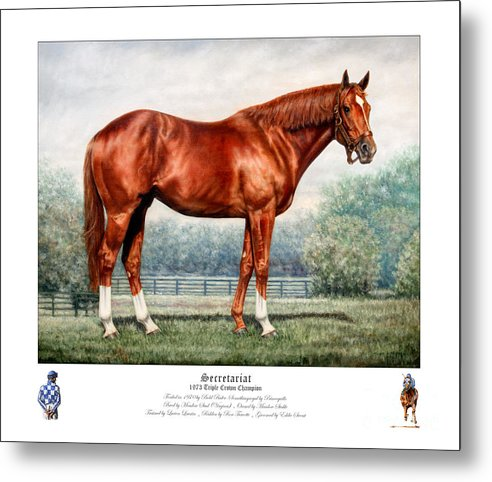 Secretariat Metal Print featuring the painting Secretariat Triple Crown Champion by Thomas Allen Pauly
