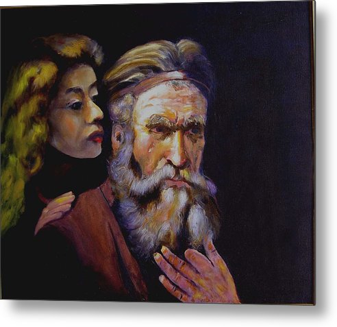 Portrait Of Matthew And Angel Metal Print featuring the painting Rembrandt - study by George Markiewicz