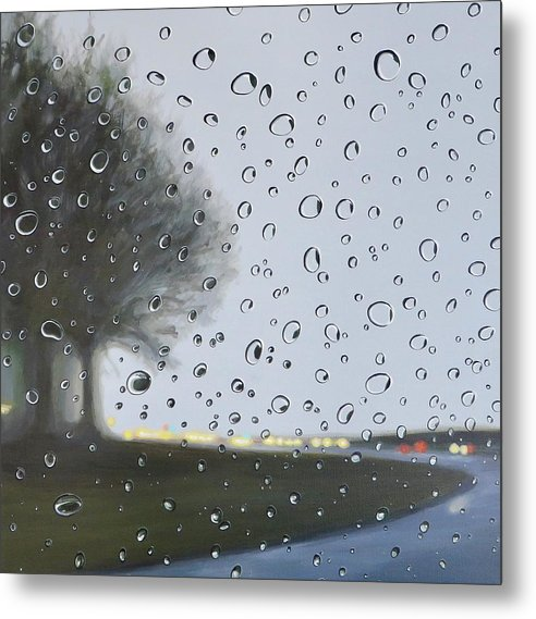 Raindrops Metal Print featuring the painting Alabama Rain by Hunter Jay