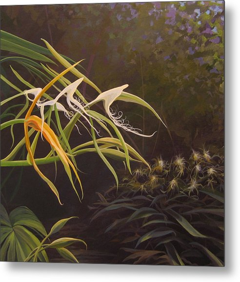 Caribbean Metal Print featuring the painting Wild Orchids by Hunter Jay
