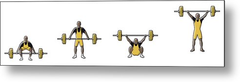 People Metal Print featuring the digital art Four Stages Of Weightlifter Lifting by Dorling Kindersley