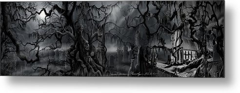 James Christopher Hill Metal Print featuring the painting Darkness Has Crept in the Midnight Hour by James Christopher Hill