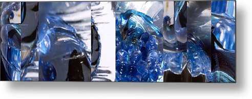 Abstract Metal Print featuring the photograph Time Line in Blue by Steve Karol