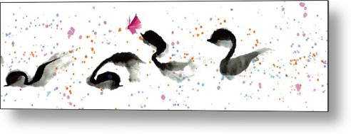A Group Of Cheery Ducklings Floating Happily In A Pond. This Watercolor And Chinese Ink On Rice Paper Painting Is Done By Mui-joo Wee With Simple Brush Strokes. Metal Print featuring the painting A Cheery Day I by Mui-Joo Wee