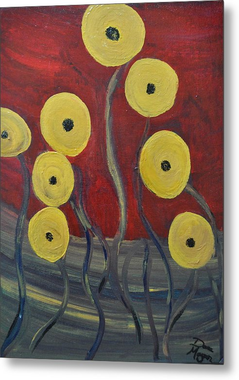 Yellow Poppies Metal Print featuring the painting Yellow Poppies At Sunset by Dara Morgan