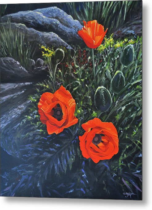 Poppy Metal Print featuring the painting Flame of the West by Hunter Jay