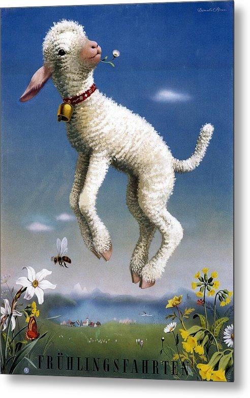 Fruhlingsfahrten - Spring Trips - Lamb - Vintage Advertising Poster by Studio Grafiikka