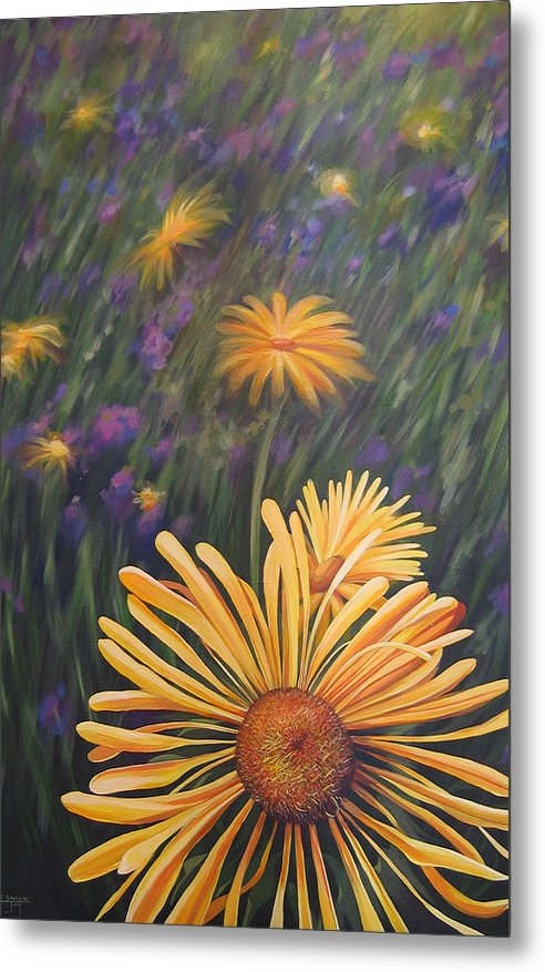 Wildflowers Metal Print featuring the painting Lazy Sunday by Hunter Jay