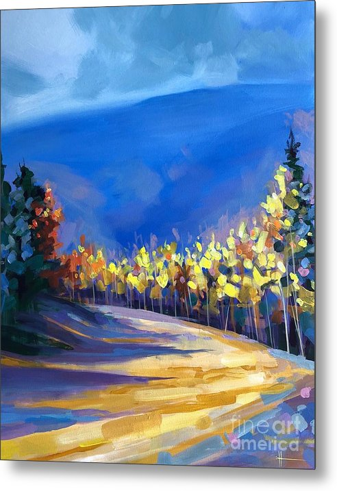 Aspens Metal Print featuring the painting Foot of the Mountain by Hunter Jay