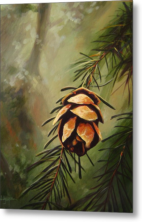 Closeup Of Spruce Cone Metal Print featuring the painting Solstice by Hunter Jay