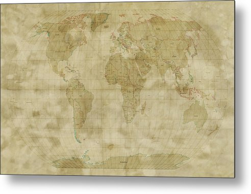 Map Of The World Metal Print featuring the digital art World Map Antique Style by Michael Tompsett